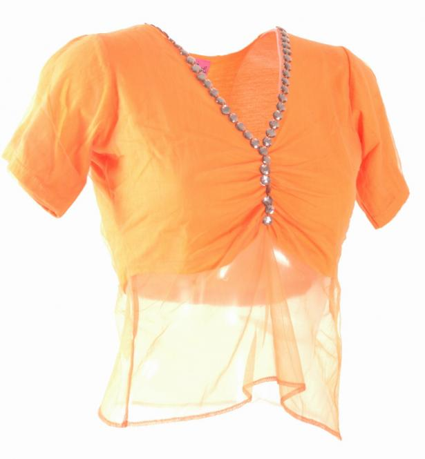 T-Shirt mit Netztüll orange, S orange (O) | -S (-S)