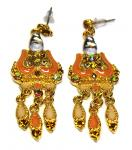 Ohrringe, gold, Stecker, klare Strass- steine orange/gold (OX) orange/gold (OX)