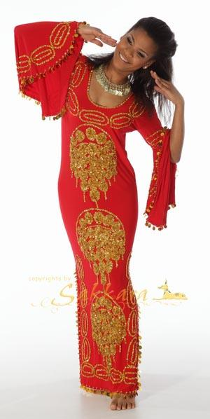 Kleid rot gold